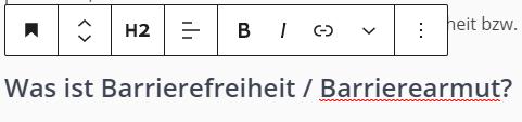 Ein Screenshot aus WordPress, in dem der Guttenberg-Editor anzeigt, dass der markierte Text eine Überschrift der Ebene 2 ist.