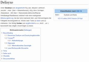Screenshot der Wikipedia zum Thema Dyslexie. Alle Buchstaben sind versetzt und vermischt, sodass ein schnelles Lesen nicht mehr möglich ist.