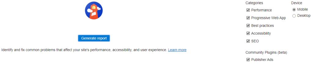 Ein Screenshot der Lighthouse-Tools in Microsoft Edge