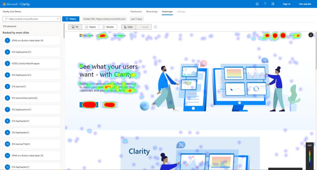 """Eine Heatmap von der Webseite vn Microsoft Clarity. Es liegt ein großer Schwerpunkt auf der Schaltfläche """"Try free""""."""