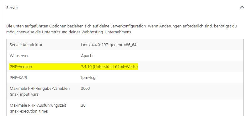 Ein Screenshot aus dem Website-Zustand. Farblich hervorgehoben ist der Bereich PHP-Version, der die Version 7.4.10 anzeigt.