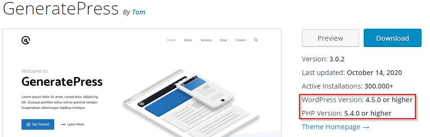 Screenshot der Detailseite des Themes GeneratePress. Hervorgehoben sind die unterstützte WordPress-Version (4.5 oder höher) sowie die unterstützte PHP-Version (5.4 oder höher).