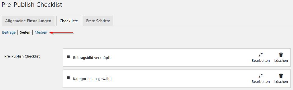 Ein Screenshot vom Plugin Pre-Publish Checklist. Ein Pfeil zeigt auf verschiedene Beitragstypen, die man unterhalb der Tab-Navigation auswählen kann, um verschiedene Checklisten anzulegen.