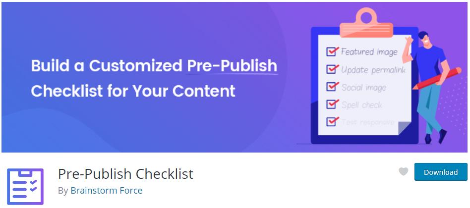 Screenshot des Kopf der Pluginseite von Pre-Publish Checklist