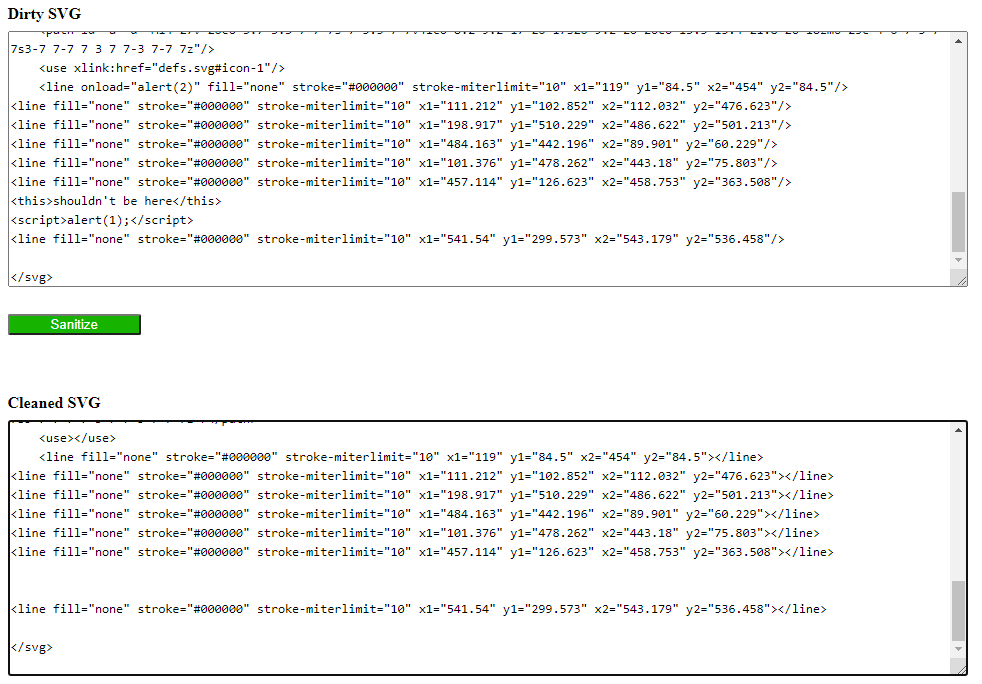 Screenshot der Webseite vom SVG Optimizer. Oben das Eingabefeld für den Ursprungs-Quellcode, dann der grüne Sanitize-Button, unten der bereinigte SVG-Code.