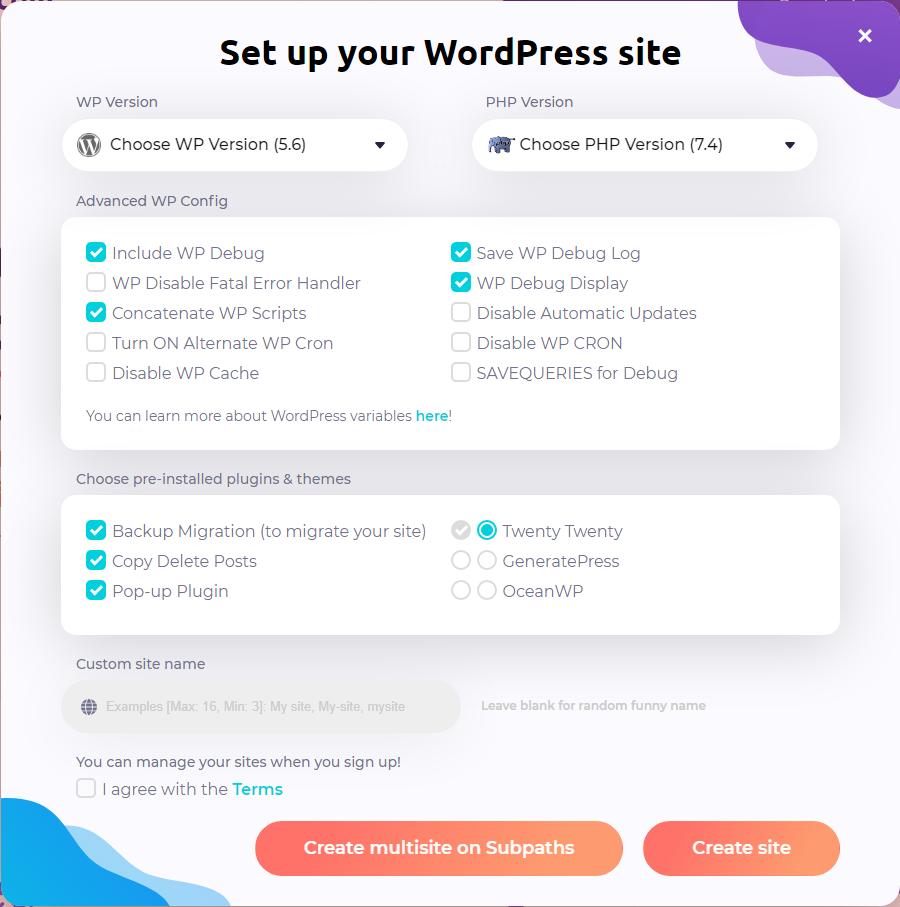Eine Übersicht mit vielen Auswahlfeldern, um die Installation einer WordPress-Instanz detaillierter zu parametrisieren.