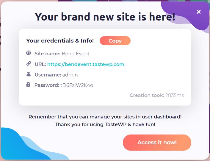 Ein Screenshot der erfolgreichen Generierung einer Seite. Neben den Logindaten wird auch ausgewiesen, dass der Aufbau der Seite in 2,8 Sekunden erledigt wurde.