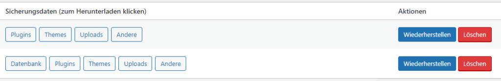 Ein Screenshot von zwei Sicherungssätzen. Bei beiden Sätzen können Plugins, Themes, Uploads und andere Daten wiederhergestellt werden, doch nur bei einer Sicherung kann auch die Datenbank wiederhergestellt werden.