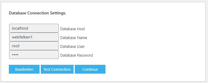 """Formular für die Datenbank-Zugangsdaten, darunter drei Buttons """"Bearbeiten"""", """"Test Connection"""" und """"Continue"""""""