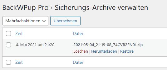 Ein Screenshot der Sicherungs-Archive bei BackWPup