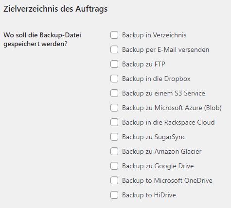 Die Sicherungsziele von BackWPup. Unter Anderem zu Dropbox, FTP, SFTP, Google Drive, Microsoft OneDrive oder HiDrive.