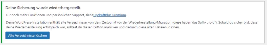 Screenshot einer Meldung, dass man temporäre Dateien der Wiederherstellung löschen soll.