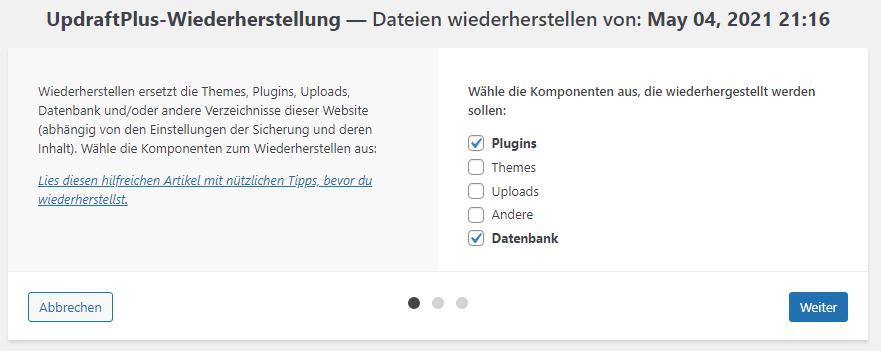 Ein Screenshot mit den Optionen zur Wiederherstellung. Es sind Plugins und Datenbank zur Wiederherstellung markiert.
