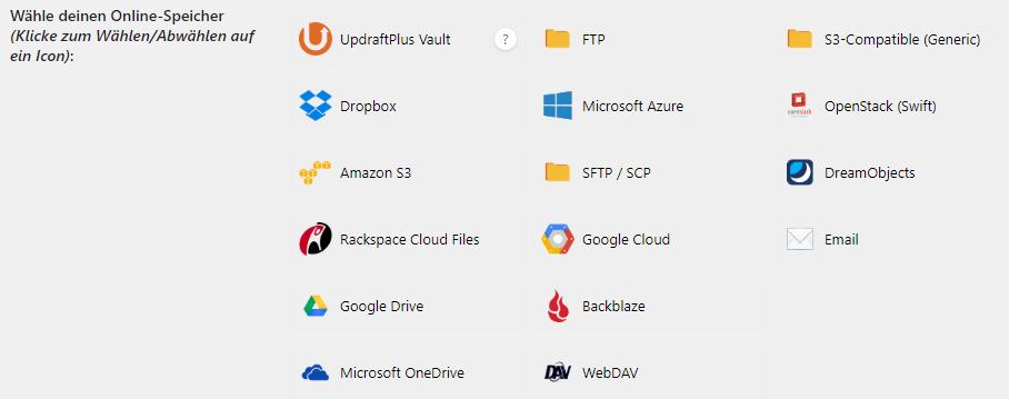 Eine Übersicht über die diversen Sicherungsziele von UpdraftPlus - unter Anderem Dropbox, OneDrive oder andere (S)FTP-Server