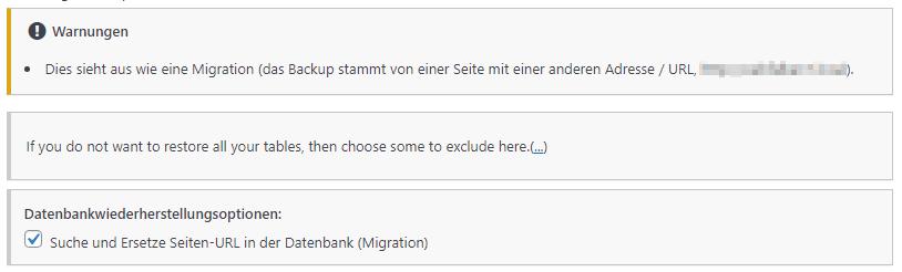 Ein Screenshot des Wiederherstellungsassistenten. Es wird darauf hingewiesen, dass die Sicherungsdateien von einer anderen Site stammen.